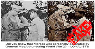 Busted: Marcos was personally decorated by Gen. MacArthur, but only in an EDITED photo
