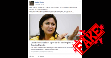 Busted: Article claiming Robredo is against Duterte's curfew plan is a HOAX