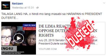 Busted: De Lima not opposing Duterte on human rights? She did not say that!