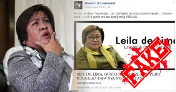 Busted: De Lima IS NOT resigning as a Senator, unlike the claim of misleading blog titles