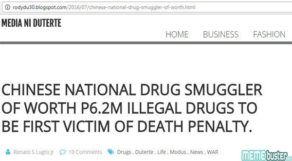 Chinese National Drug Smuggler First Death Penalty