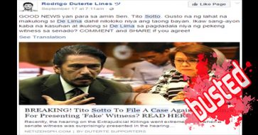 Busted: Sotto to file charges against de Lima? It's an unverified claim with a misleading title