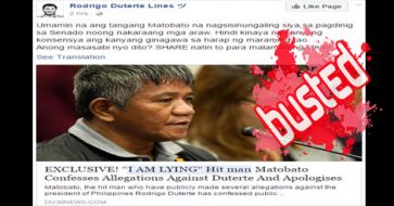 Busted: Matobato admitted he lied and apologized to Duterte? It's from a satire blog!