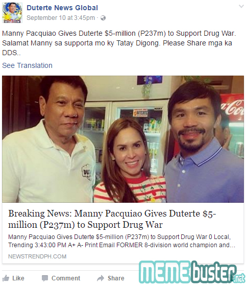 Pacquiao Support Dutertes Drug War