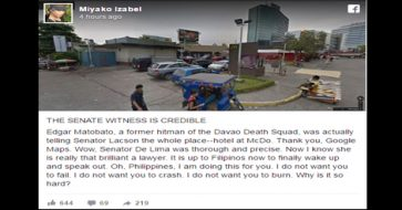 Senate witness was telling Lacson the whole place, including McDo, where King was shot – netizen