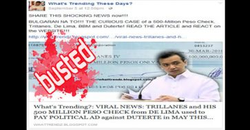 Busted: Trillanes accepted P500M from de Lima? It's unverified news from a blog with several fake news
