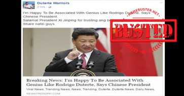Busted: Did Chinese president call Duterte a 'genius'? It's just SATIRE though!