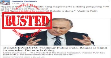 Busted: Putin called FVR 'blind' to see what Duterte is doing? This is a hoax!