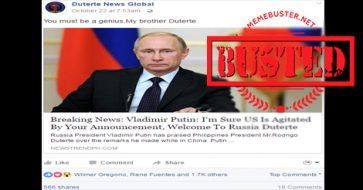 Busted: Putin did not welcome Duterte to Russia! It's a fake story!