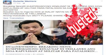 Busted: Duterte blog claims Trillanes is confirmed talking to cops, soldiers to oust Duterte! FALSE CLAIM!