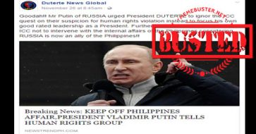 Busted: Putin did not warn UN's Human Rights Groups to get out of PH