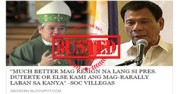 Busted: Did Archbishop ask Duterte to resign and threaten him with a bigger EDSA? It's a misleading title!