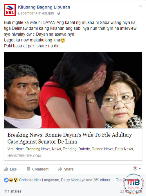 Dayans Wife File Adultery Charges