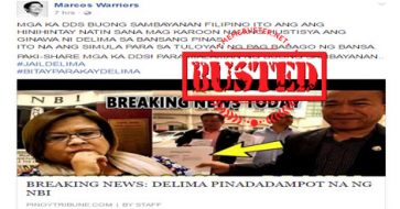 Busted: NBI did not have De Lima arrested, as claimed by a Marcos fan page