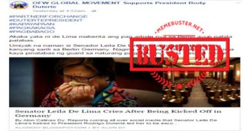 Busted: De Lima cries after being kicked out in Germany? It's just another fake story!