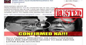 Busted: News of De Lima admitting to depositing money into Dayan's bank account is fake!