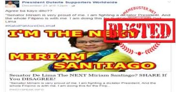 Busted: De Lima DID not say she is going to be the next Miriam Defensor Santiago