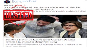 Busted: News on De Lima's sister being arrested in China for drug trafficking is fake!