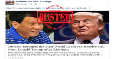Busted: Was Duterte the first world leader Trump called after his election victory? Nope, it's fake news!
