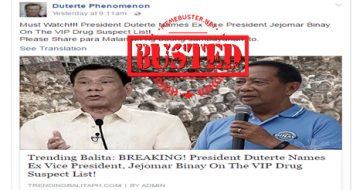 Busted: Duterte named Binay as a VIP drug suspect? The story is fictitious!