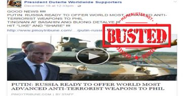 Busted: Russia offers their most advanced anti-terrorism tool to PH? It's a MISLEADING title!