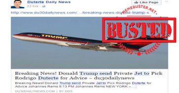 Busted: Trump sent private jet to fetch Duterte for advice? It's fake news!