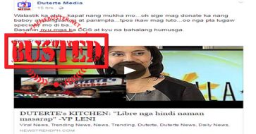 Busted: VP Leni DID NOT criticize the food offered by Duterte's Kitchen! It's all made up!