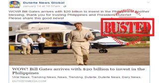 Busted: Bill Gates arrived in PH with $20-billion investment under Duterte admin? Totally fake!