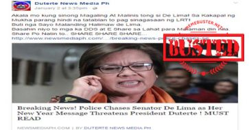 Busted: De Lima chased by police after giving New Year message threatening Duterte? Fake news alert!