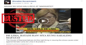 Busted: De Lima claimed that she'd be a hero if ever she gets killed? No, it's a misleading title!