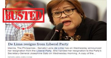 Busted: De Lima resigned from LP? It's a hoax!