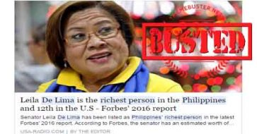 Busted: De Lima is the richest person in PH? This is definitely not true