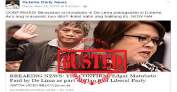 "Busted: Duterte fan pages claimed it's ""confirmed"" that De Lima paid Matobato, but they used MISLEADING title"