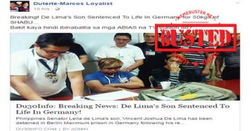Busted: De Lima's son HAS NOT been sentenced to life, as what a fake news site claimed