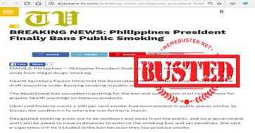 Busted: Duterte has finally banned smoking in public? But this hasn't happened yet