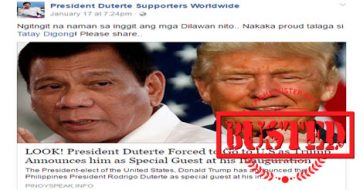 Busted: Duterte forced to go to US as Trump's special guest during inauguration? HOAX!