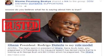 Busted: Article about Ghana president saying Duterte is his role model is FAKE!