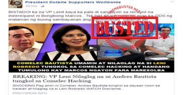 Busted: VP Leni nilaglag ng Comelec chairman about Comeleak? Nope, it's a misleading title!