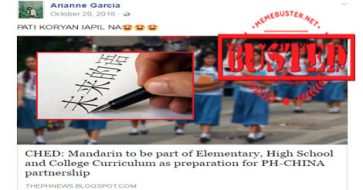 Busted: News about Mandarin being part of PH education curriculum with looming PH-China partnership is SATIRE!