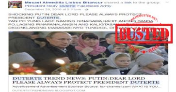 Busted: Putin prayed for Duterte's protection? It's another hoax!