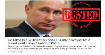 "Busted: Putin called De Lima a ""witch""? Fake news site made it up"