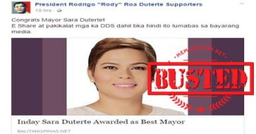 Busted: Article about Sara Duterte being awarded as best mayor is a hoax!