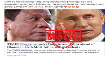 Busted: Times magazine ranks Duterte, Putin ahead of Obama in 2016 Most Influential Pres list? Hoax alert!