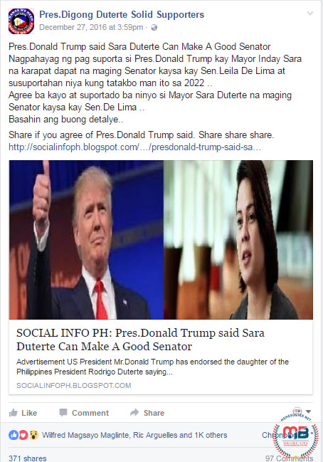 Trump Sara Duterte Good Senator