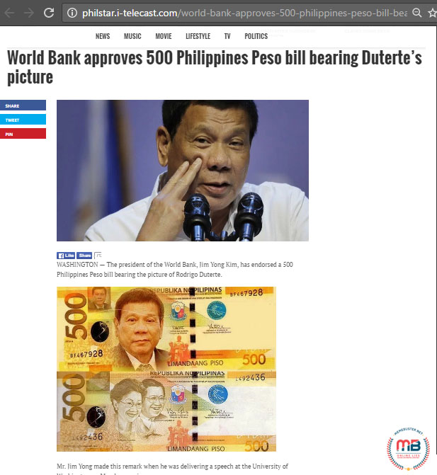 World Bank Approving P500 Dutertes Photo