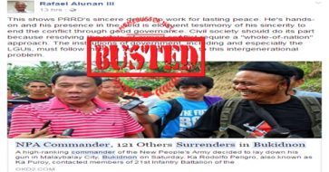 Busted: Alunan shared fake news about surrender of NPA commander, 121 others in Bukidnon