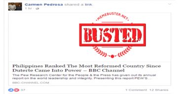 Busted: Journo Carmen Pedrosa shares another fake news about PH being 'most reformed country' under Duterte