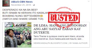 Busted: Fake news site makes up story about De Lima wanting to fund Abu Sayyaf