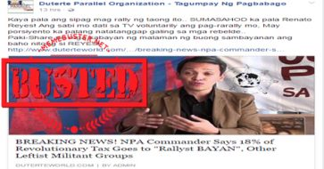 Busted: Fake news site claims NPA commander pays 18% of revolutionary tax to BAYAN, other militant groups