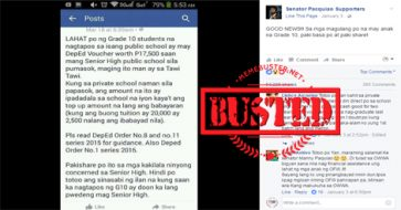Busted: Senior High School voucher program was developed in 2015, not by Pacquiao but by DepEd